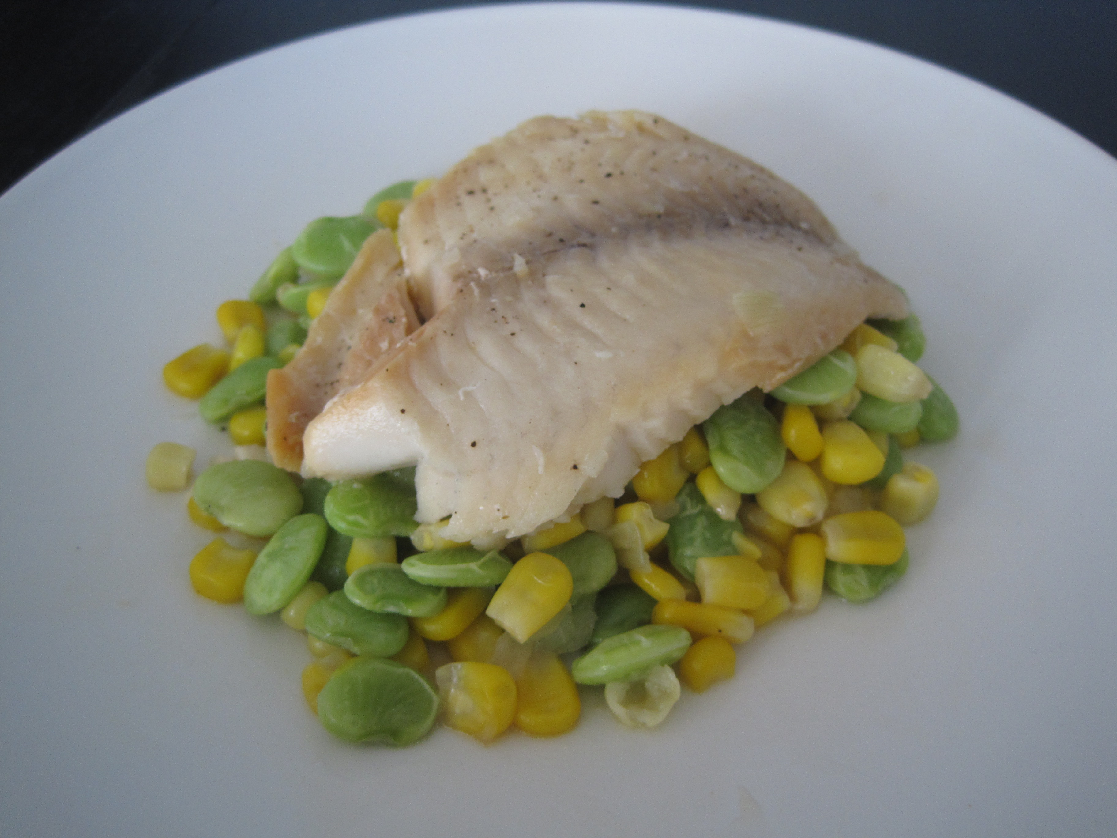 White fish on lima beans and corn cooking with alison for Cooking white fish