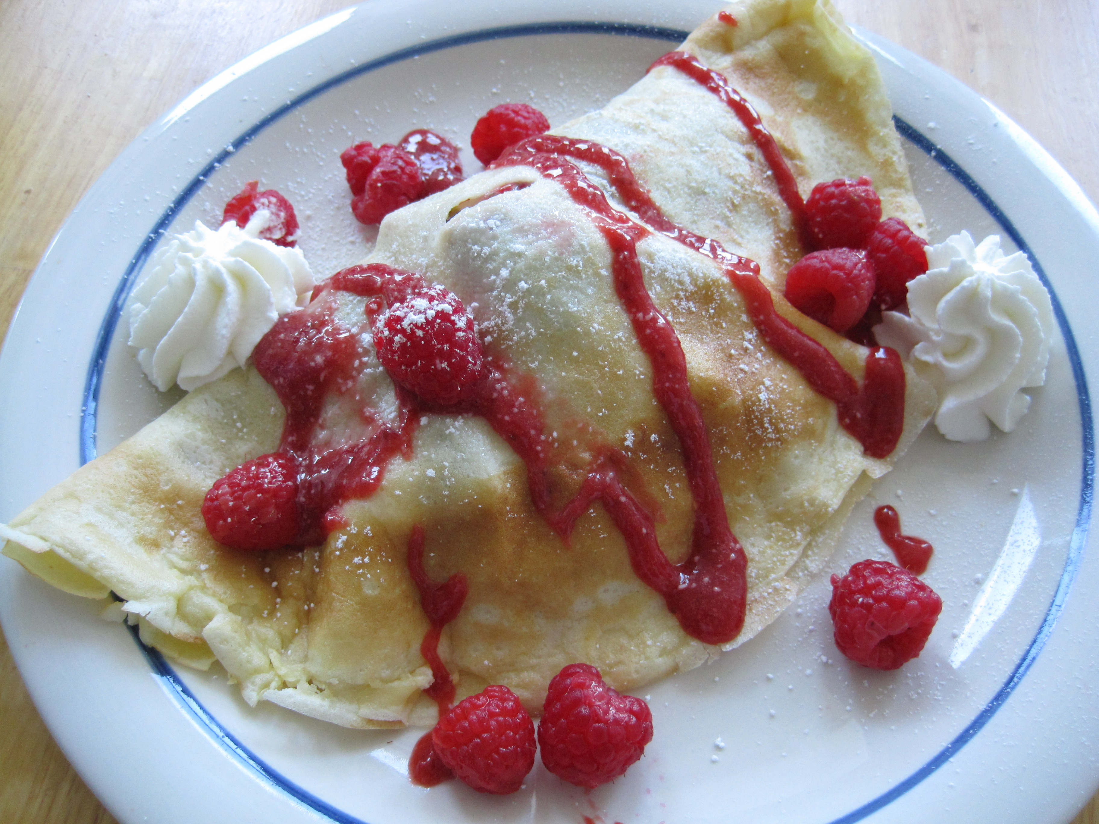 Crêpes served with ice cream, fresh fruit, whipped cream and ...