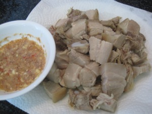 Cincalok dip with steamed pork belly