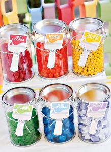 Mini plastic paint cans for take home gift containers.  Photo taken from http://blog.hwtm.com/2012/05/rainbow-paint-party-birthday-celebration/#more-64302